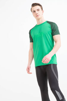 T-shirt sportiva maniche a contrasto, Verde, hi-res