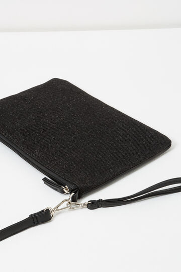 Solid colour clutch with cross body strap, Dark Grey, hi-res