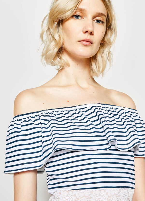 Striped crop T-shirt with lace | OVS