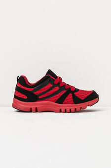 Solid colour sneakers with inserts, Red, hi-res