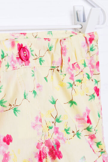 100% cotton shorts with floral print, Yellow, hi-res