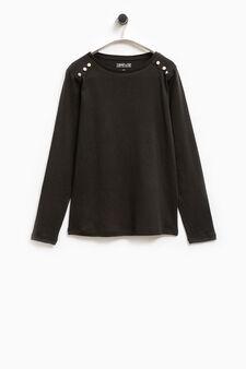 Smart Basic cotton T-shirt with diamantés, Black, hi-res