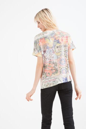T-shirt misto viscosa fantasia, Arancione, hi-res