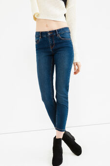 Jeans ankle skinny fit stretch, Lavaggio scuro, hi-res