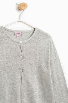 Cotton and viscose cardigan with diamantés, Light Grey, hi-res