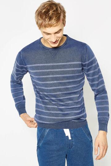 Pullover in cotone fantasia a righe, Blu/Azzurro, hi-res