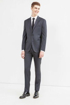 Elegant, slim-fit two-button suit in wool, Dark Grey, hi-res
