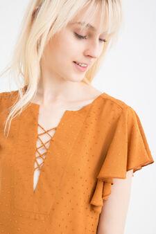 100% viscose blouse with ties, Tobacco Brown, hi-res