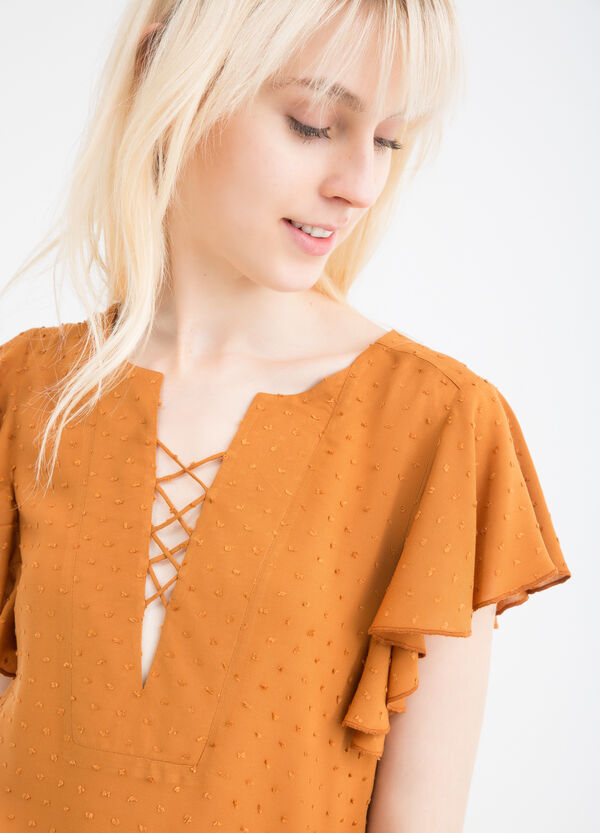 100% viscose blouse with ties | OVS