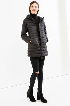 Down jacket with high neck and hood, Black, hi-res