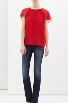 Plain blouse with studs., Red, hi-res