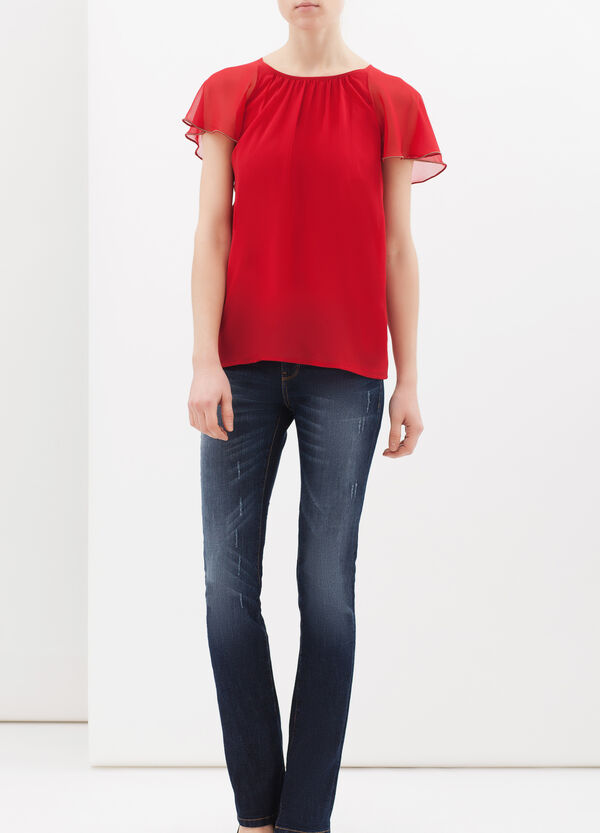Plain blouse with studs. | OVS