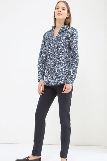 100% cotton polka dot blouse, Blue, hi-res