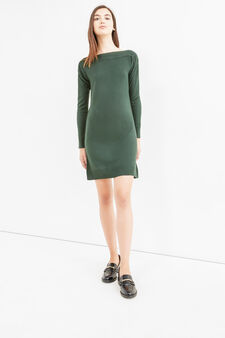 Solid colour long-sleeved dress., Green, hi-res