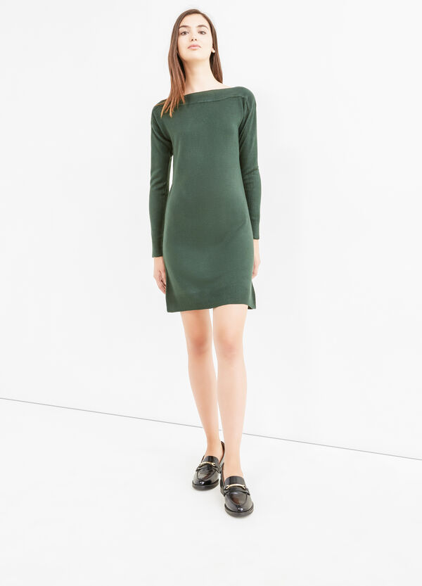 Solid colour long-sleeved dress. | OVS