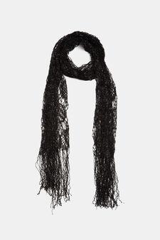 Lurex openwork scarf, Black, hi-res
