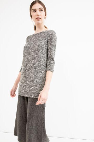 Pullover tricot lungo con spacchi, Nero/Bianco, hi-res