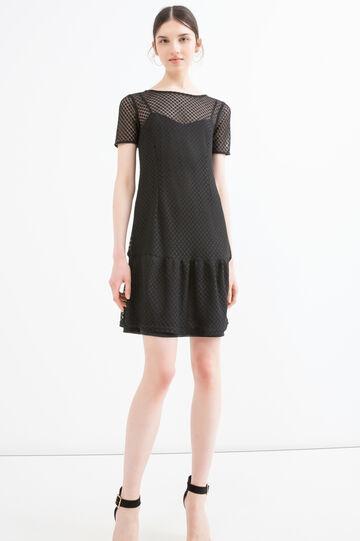 Solid colour short openwork dress, Black, hi-res