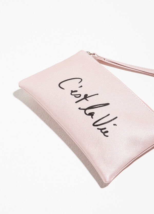 Saffiano-effect pouch with print | OVS
