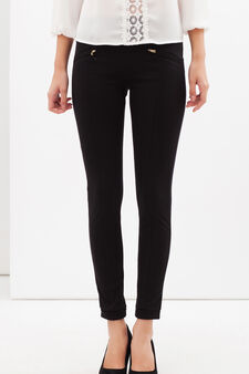 Stretch leggings with pockets, White/Black, hi-res