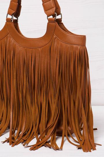 Shoulder bag with fringe, Leather Brown, hi-res