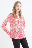Patterned blouse in 100% cotton, Red, hi-res