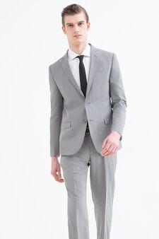 Solid colour elegant suit in slim fit, Light Grey, hi-res