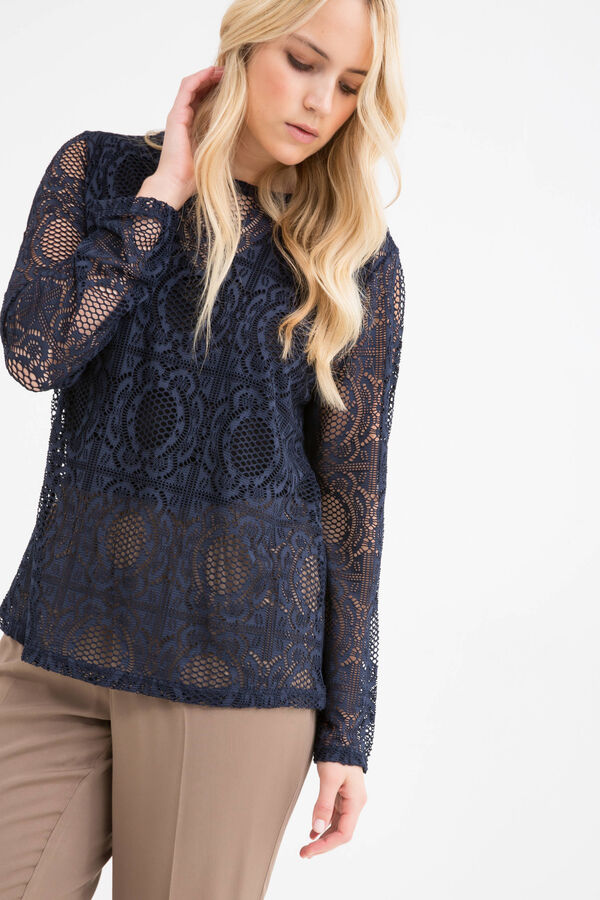 Long-sleeved Curvy T-shirt with openwork | OVS