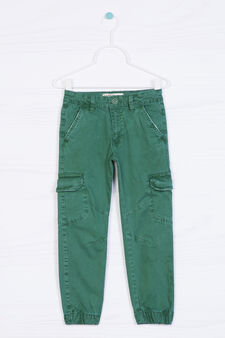 Stretch cotton cargo pants, Light Green, hi-res