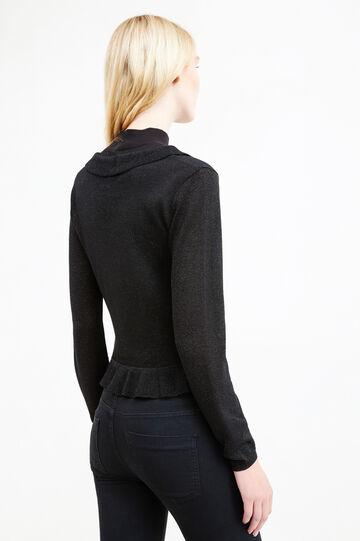 Viscose and lurex cardigan with frills, Black, hi-res