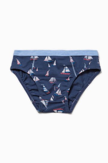 Biocotton briefs with boat print