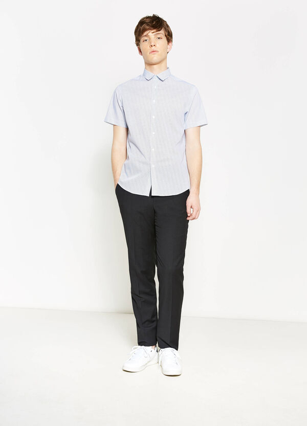 Slim-fit casual shirt with micro pattern | OVS