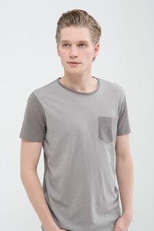 100% cotton T-shirt with pocket, Grey, hi-res