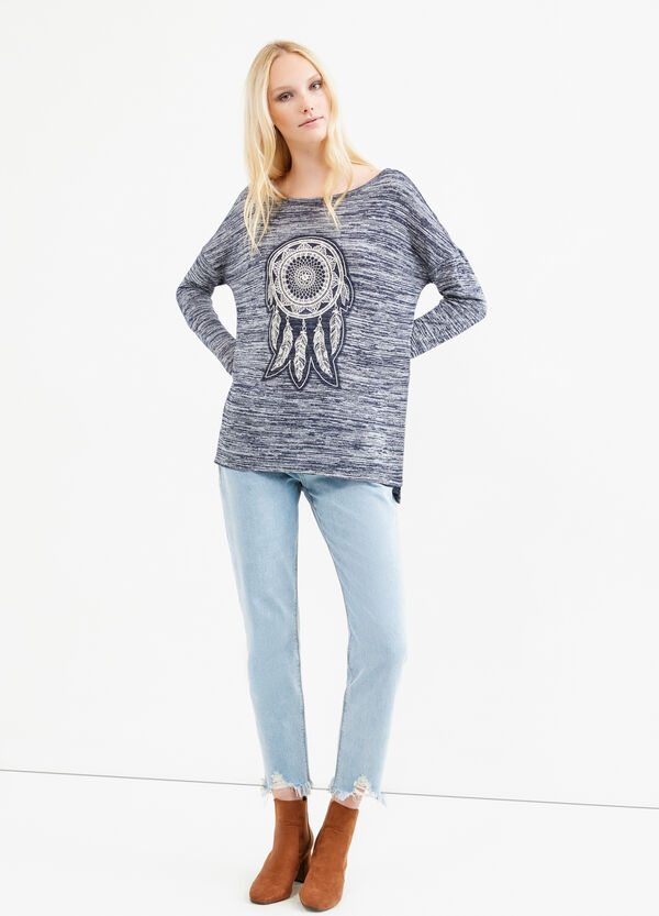 Viscose blend sweatshirt with embroidery | OVS