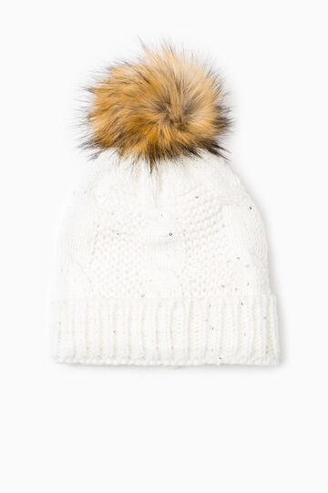 Cappello a cuffia tricot con pon pon, Bianco panna, hi-res