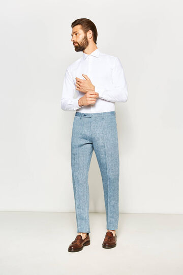 Pantaloni slim fit in puro lino