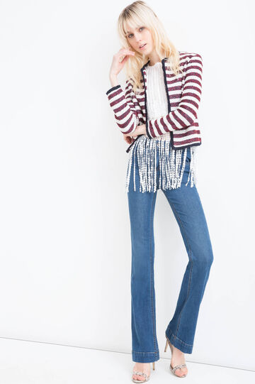 Fringed cotton blend blazer