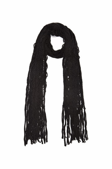 Openwork design scarf., Black, hi-res