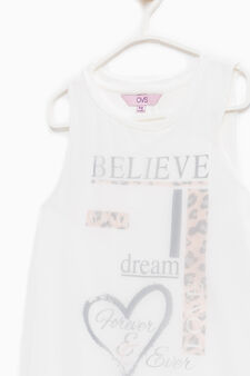 Printed cotton blend top, Off-white, hi-res