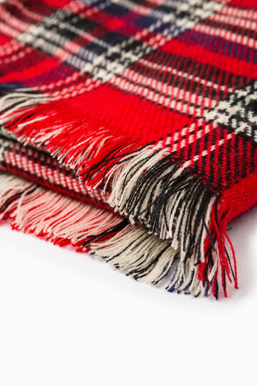 Tartan pattern knit scarf, Red, hi-res