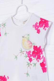 T-shirt cotone stretch paillettes, Bianco, hi-res