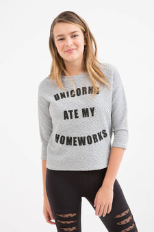 Stretch sweatshirt with Teen printed lettering, Black, hi-res