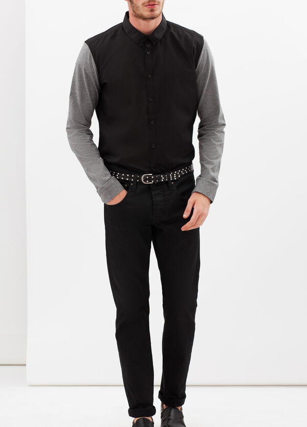 Cotton blend slim fit shirt | OVS