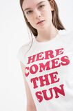 100% cotton T-shirt with printed lettering, Milky White, hi-res