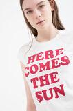 T-shirt puro cotone stampa lettering, Bianco latte, hi-res
