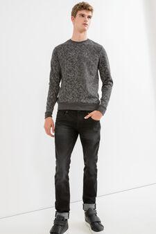 Floral crew-neck sweatshirt in cotton blend., Black, hi-res