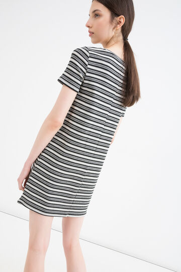Short stretch striped dress, White/Black, hi-res