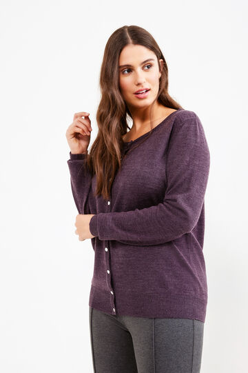Curvy knitted cardigan, Purple, hi-res