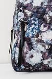 Floral patterned backpack, Mud Brown, hi-res