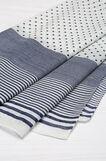 Sciarpa a righe e a pois puro cotone, Bianco/Blu, hi-res
